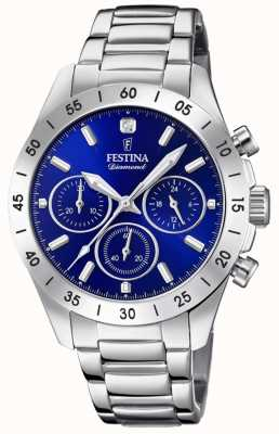 Festina Womens Boyfriend Chronograph Stainless Steel Blue Dial F20397/2