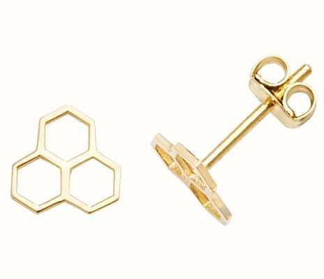 James Moore TH 9k Yellow Gold Hive Stud Earrings ES610