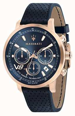 Maserati Mens GT 44mm | Solar | Rose Gold Case | Blue Dial | Leather R8871134003