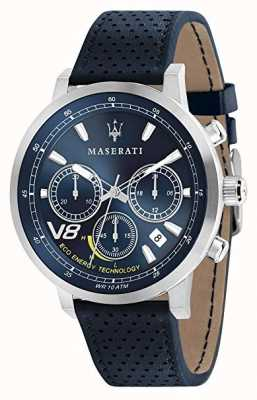 Maserati Mens GT 44mm | Silver Case | Blue Dial | Blue Leather Strap R8871134002