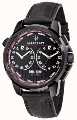 Maserati Mens Successo 44mm | Black Dial | Black Leather Strap R8851121002