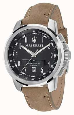 Maserati Mens Successo 44mm | Black Dial | Tan Leather Strap R8851121004