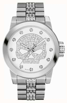 Harley Davidson Women's Crystal Willie G | Skull Stainless Steel 76L176