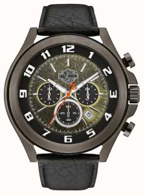 Harley Davidson Mens From The Night Rider | Black/Green Dial | Black Leather 78B149