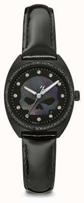 Harley Davidson Women's Crystal Willie G Skull | Black Dial | Black Leather 78L125