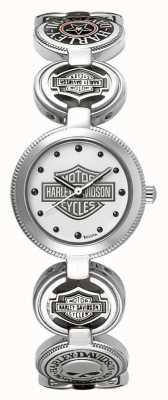 Harley Davidson Womens Charm Bracelet Wrist Watch | Silver Stainless Steel 76L145