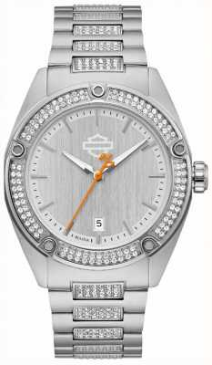 Harley Davidson Womens Cyrstal Set | Stainless Steel Bracelet | Silver Dial 76L187