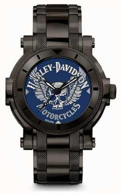 Harley Davidson Men's For Him | Black Stainless Steel Bracelet | Blue Dial 78A117