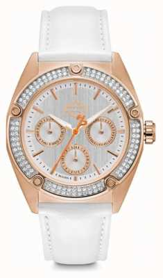 Harley Davidson Womens Swarovski Crystal | Silver Dial | White Leather 78N102