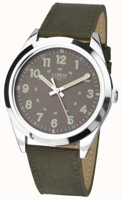 Limit Men's | Military Style Watch |Khaki Green Strap & Green Dial 5951