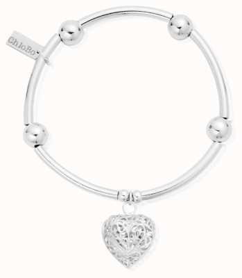 ChloBo Womens | Noodle Ball Filigree Heart | Bracelet SBNB050
