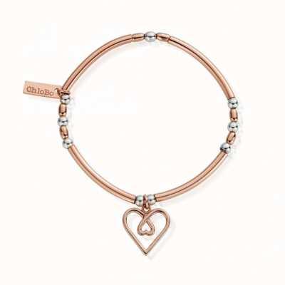 ChloBo Rose Gold & Silver  Divine Love Heart   Bracelet MBNBR575