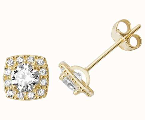 Treasure House 9k Yellow Gold Square Cubic Zirconia Stud Earrings ES522