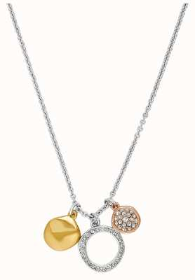"Adore By Swarovski Organic Circle Charm Necklace 16-18"" Rhodium Plated Tri-Tone 5419363"