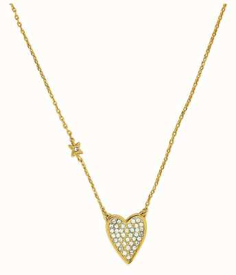 "Adore By Swarovski Pointed Heart Necklace Gold 16-18"" Adjustable 5303078"