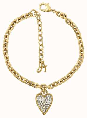 "Adore By Swarovski Pointed Heart Charm Bracelet Gold 6.5-8"" Adjustable 5303084"