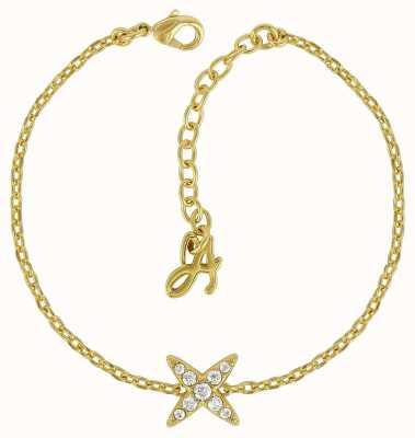 "Adore By Swarovski 4 Point Star Bracelet 6.5-8"" Gold Plated 5259854"