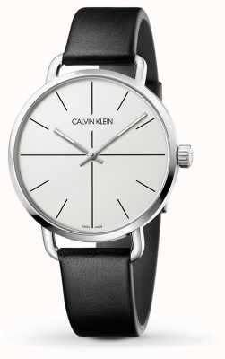Calvin Klein | Even Extension Watch | Black Leather Strap | White Dial | K7B211CY