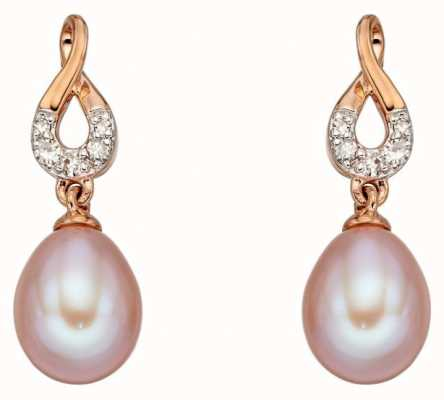 Elements Gold 9ct Rose Gold Pink Freshwater Pearl Pave Diamond Set Earrings GE2230P