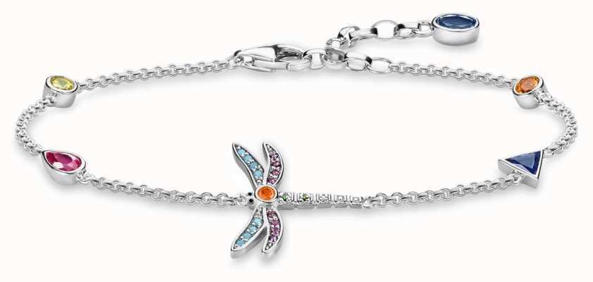 Thomas Sabo | Sterling Silver Multi Stone Dragonfly Bracelet | A1839-314-7-L19V