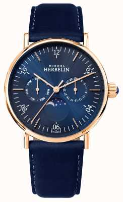 Michel Herbelin Mens Montre Inspiration Moonphase Blue Dial Blue Strap 12747/PR15BL