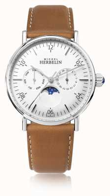 Michel Herbelin Montre Inspiration Moonphase Brown Leather Strap White Dial 12747/AP11GO
