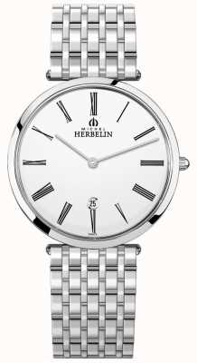 Michel Herbelin Mens Epsilon Stainless Steel Bracelet White Dial 19416/B01N