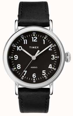 Timex | Men's Black Leather Strap | Black Dial | TW2T20200D7PF