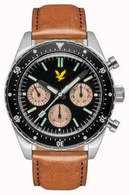 Lyle & Scott Mens Highland Brown Leather Strap Black Dial LS-6011-01