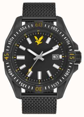 Lyle & Scott Mens Tactical Black PVD Plated Mesh Bracelet Black Dial LS-6017-22