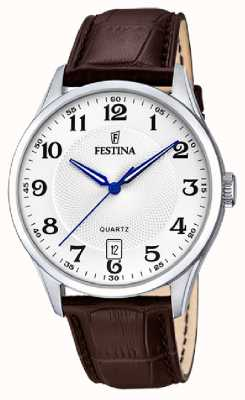 Festina Mens Stainless Steel | Brown Leather Strap | Silver Dial | F20426/1