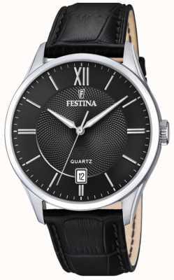 Festina | Mens Stainless Steel | Black Leather Strap | Black Dial | F20426/3