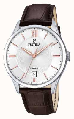 Festina   Mens Stainless Steel   SilverRose Dial   Brown Leather   F20426/4
