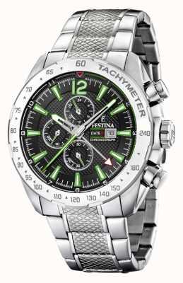 Festina | Mens Chronograph & Dual Time | Black/Green Dial | F20439/6