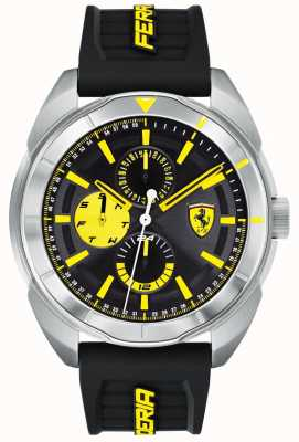 Scuderia Ferrari | Mens Forza | Black Rubber Strap | Black/Yellow Dial | 0830575