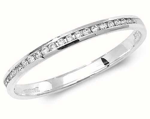 Treasure House 9k White Gold Diamond Half Eternity Ring Size UK N RD583W