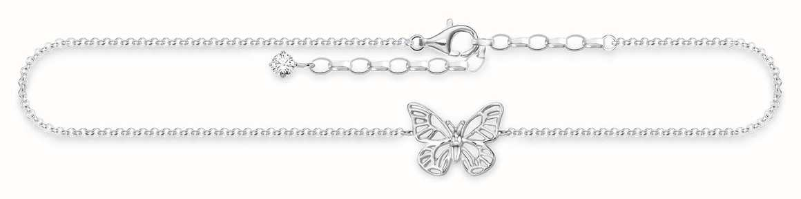 Thomas Sabo Butterfly Anklet 925 Sterling Silver/ White Zirconia 22-27cm AK0011-051-14-L27V
