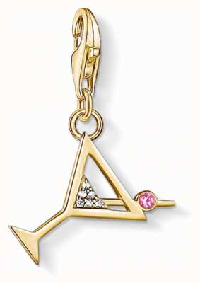 Thomas Sabo Charm Pendant 925 Silver Yellow Gold Plated Cocktail Cz 1771-995-7