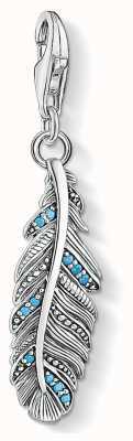 Thomas Sabo Charm Pendant 925 Blackened Silver Feather 1774-667-17