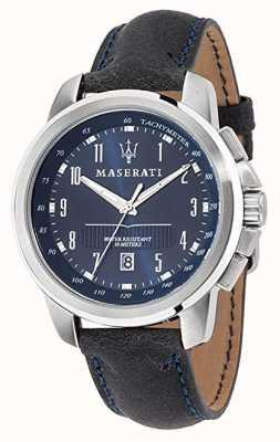Maserati Successo Blue Dial Black Leather Strap R8851121003
