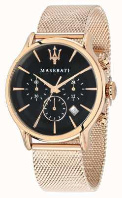 Maserati Epoca Chronograph Black Dial Rose Gold PVD Mesh R8873618005