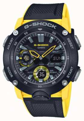 Casio | G-shock Carbon Core Guard | Black Yellow Strap | GA-2000-1A9ER
