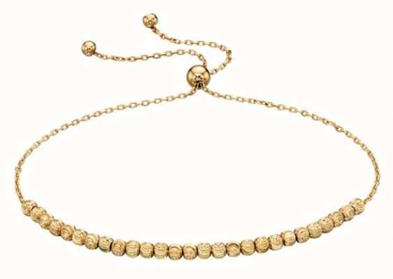 Elements Gold 9k Yellow Gold Diamond Cut Adjustable Bead Bracelet GB441
