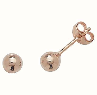 James Moore TH 9ct Rose Gold 4 mm Ball Stud Earrings ES202R