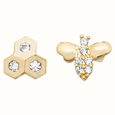 Treasure House 9k Yellow Gold Bee Hive Stud Earrings ES615