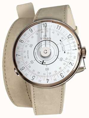 Klokers KLOK 08 White Watch Head Grey Alcantara Double Strap KLOK-08-D1+KLINK-02-380C6