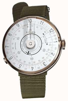 Klokers KLOK 08 White Watch Head Lichen Green Textile Single Strap KLOK-08-D1+KLINK-03-MC2
