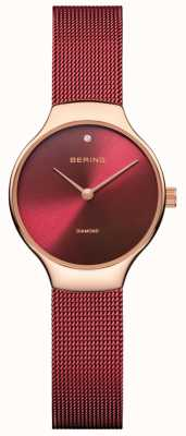 Bering | Womens Charity Watch | Red Mesh Strap | Red Dial | 13326-CHARITY
