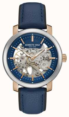 Kenneth Cole   Mens Automatic   Blue Leather Strap   Blue Skeleton Dial   KC50776002