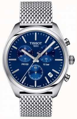 Tissot | Mens PR100 Chronograph | Mesh Bracelet | Blue Dial | T1014171104100